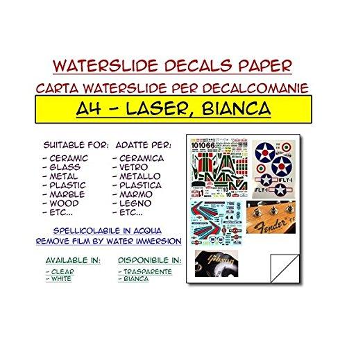 DIYPedalGearParts  5 x carta waterslide bianca per stampante laser, decalcomanie, stomp box, pedal effect