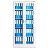 Aktenschrank C012 Flügeltür aus Glas Medizinschrank Metallschrank Büroschrank Universalschrank Flügeltürschrank Stahlschrank Lagerschrank Ideal für Büro Verschließbar (weiß)