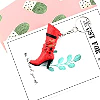 Gperw Fashion Keychain Accessories Boots PVC Pendant Key Chain Keyring Key Holder(Red)