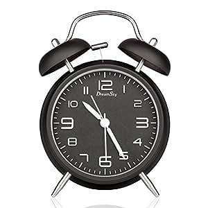 DreamSky Doppelglockenwecker mit Nachtlicht, großes Zifferblatt von 4 Zoll, Analog Quarzwecker mit lautem Alarm,kein Ticken, geräuschlos, Schwarz