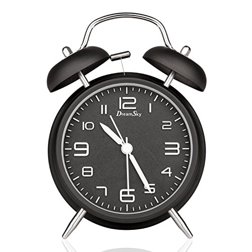 DreamSky Doppelglockenwecker mit Nachtlicht, großes Zifferblatt von 4 Zoll, Analog Quarzwecker mit lautem Alarm,kein Ticken, geräuschlos, Schwarz Test