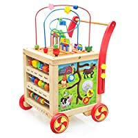 Nuheby Baby Walker Height Adjustable for 1 2 3 Year Old Boys Girls,7-in-1 Activity Cube Wooden Toys Bead Maze Children,Activity Centres Wooden Walker Gift Educational Toddler First Steps Assistant