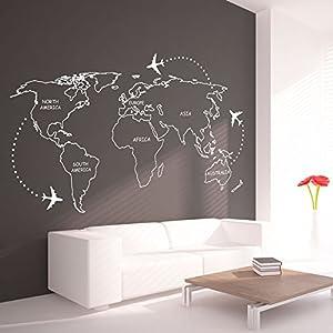 Vinilo Adhesivo Mapa Mundo con Continentes en Contornos – 227 x 131 cm