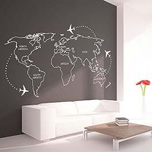 Weltkarte umrisse mit kontinente aufkleber f r haus for Haus umrisse