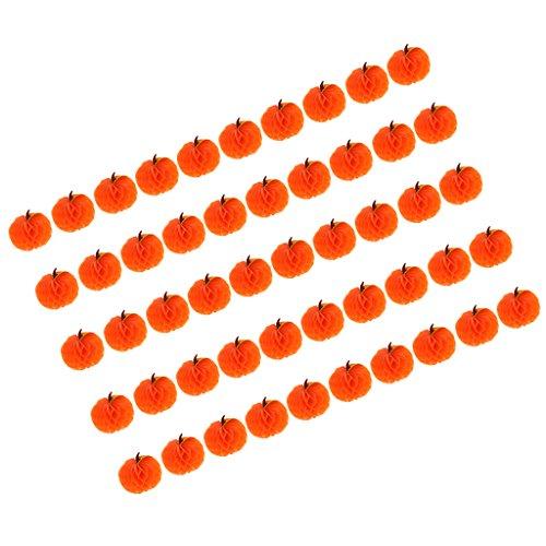 (MagiDeal 50 / Set Mini Papier Kürbis Wabenball Honeycomb Party Halloween Deko Papier Wabenbälle Papierwaben PomPom)