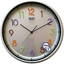 Ajanta Plastic Sweep Clock (32.6 cm x 32.6 cm x 5.2 cm, Silver)