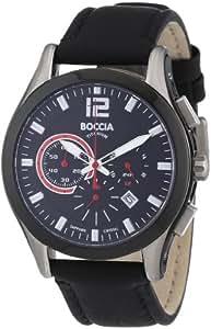 Boccia - 3771-01 - Montre Homme - Quartz - Chronographe - Bracelet Cuir Noir