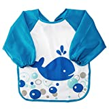 Baby Bibs Kids Sleeved Feeding Bibs Waterproof Long Sleeve Art Apron Smock Bib for Infants Toddlers Shark