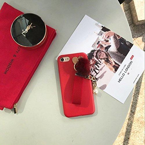 GHC Cases & Covers, Leder weicher schützender rückseitiger Abdeckungs-Fall mit Pelzkugel-Kettenanhänger, für iPhone 7 ( Color : Black ) Red