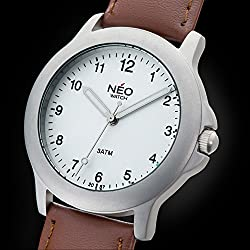 NEO watch PURE SILVER - Classic Quartz Watch - Mens Analogue Wristwatch - 39mm diameter - White dial - Leather strap - N5-004