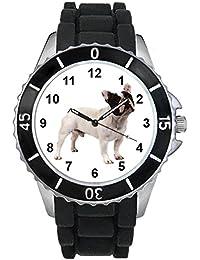 Bulldog francés Unisex Reloj para hombre y mujer con correa de silicona negro