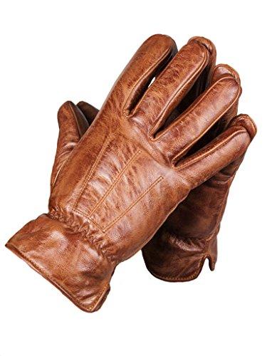 lines by cris d. fedd Echte Herren Schafsleder Handschuhe, Lederhandschuhe, Tender Being Glovy, Größe XXL, sienna cognac