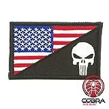 Punisher Patch Tactical Emblem Totenkopf Versch. Farben mit Klettverschluss Airsoft (Schwarz/Weiß)