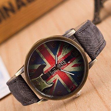 Belles montres, Denim femme simple montre-bracelet drapeau américain ( Couleur : Noir , Genre : Pour femme )