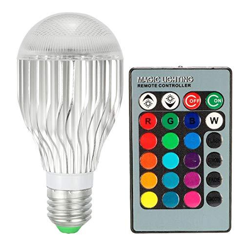 ZCHXD AC 85V-265V 3W E27 Screw Base RGB 16 Color Grad Remote Control Light Bulb 5M Telecontrol Distance