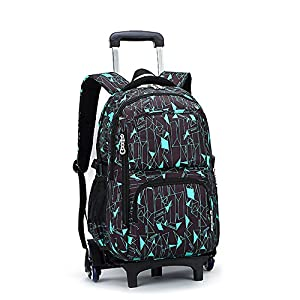 Asdomo Rolling Laptop Backpack Luggage Wheeled Backpack Trolley School Bags with Six Wheels for Boys Girls Kids Teenagers Students Schooling Travel