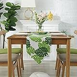 FaceToWind Tischfahne, Doppelschicht Baumwolle und Leinen Tischfahne, grüne Pflanze Bananenblatt Drucken, Hotel Bett Bett Flagge, Hotel Schlafzimmer Wohnzimmer Esszimmer, 30x180cm