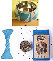 Heads Up For Tails Elastic Twistee Collection Gnaw Bone Chew Dog Toys & Colour Fiesta Dog Bowl (L) & W