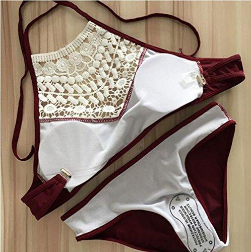 Ibelive Damen Bikini-Set Weinrot