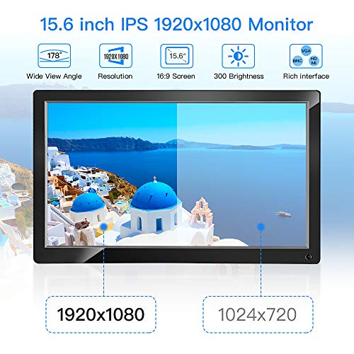 "Eyoyo 15.6"" Monitor IPS LCD HD Display 1920x1080 Video Colori Display Audio con HDMI/AV/VGA/BNC/USB Input per PC VCD Laptop Camera Raspberry Pi 3 2 1 Dvd"