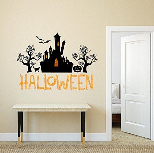 ary Halloween Wand Aufkleber Aufkleber Art Home Canvas Dekoration Halloween Reference Halloween Wizard Castle Tree Cat Bats Pumpkin ()