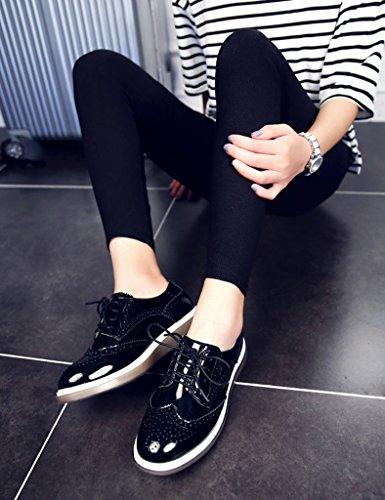 HWF Scarpe donna Scarpe da donna primaverili Scarpe basse da donna stile inglese Scarpe casual da donna piatte Retro ( Colore : Bianca , dimensioni : 36 ) Nero