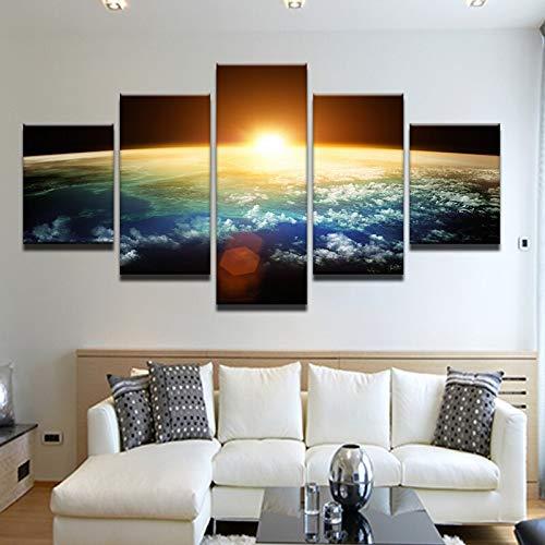 mmwin Leinwand HD Drucke Bilder Wohnzimmer Dekor Wandkunst Arbeit 5 Stücke Sonne über der Erde Universum Raum Poster