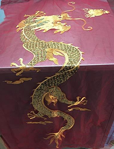 50 x 120 cm, bordado grande de dragón dorado sobre tela de malla, material rizado para ropa clásica o de rendimiento haciendo parches de dragón de lentejuelas head for right