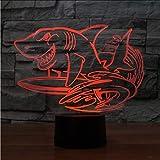 Shuyinju 3D Led 7 Couleurs Créatif Requin Surf Modélisateurs Modélisation Bureau Lampe Usb Nuit Lumière Chambre Chevet Décoration Animale Enfants Cadeau