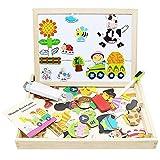 XRY Holzspielzeug Magnetische Puzzles Kinder Holz Spiele, Doppel Gesicht Jigsaw & Zeichnung Staffelei Tafel, Puzzle Spiele für Kinder