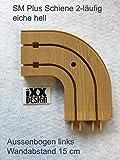 SM-Plus Gardinenschienen und Zubehör eiche hell, 2-läufig (Aussenbogen links, 15 cm x 15 cm)