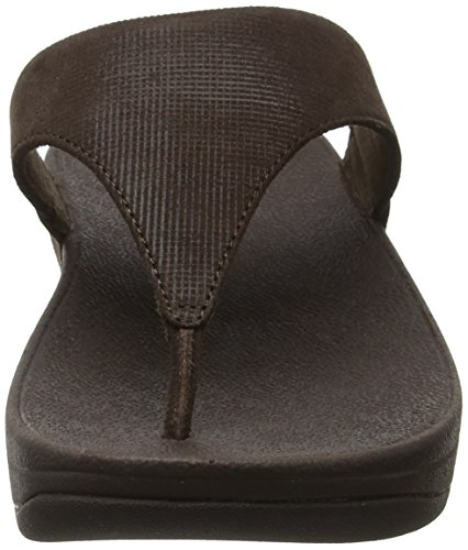 Fitflop Lulu Sandales Toe-thong-shimmer-check, Sandali Pointe Aperta Donna Brown (chocolat)