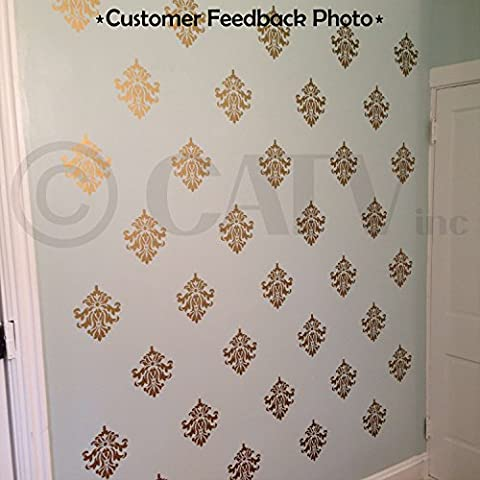 Damask set of 18 vinyl wall decal self adhesive wall pattern stickers (Gold)