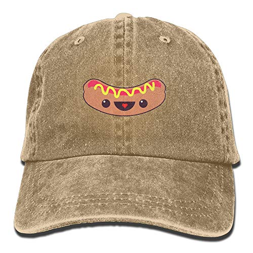 Hot Dog,Cute Smile Cotton Adjustable Cowboy Cap Gym Caps Forman and Woman -