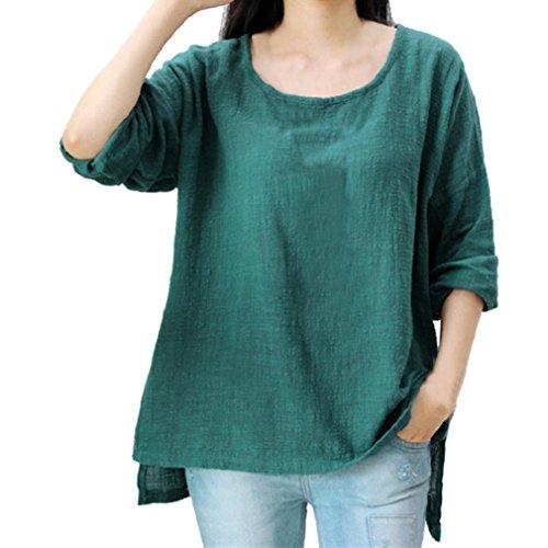 Damen Bluse Dasongff Frauen Lose Pullover Baumwolle und Leinen Große Bluse Langarmshirt T-Shirt Oberteil Tops Bluse Plus Größe L~4XL (Grün, L)