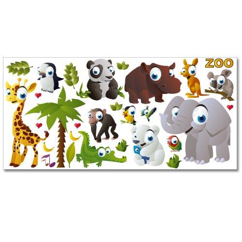 Wandkings Zoo Tiere Wandsticker XL Set, 30 Aufkleber, Gesamtfläche 130 x 70 cm