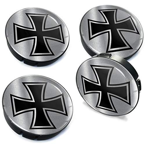 Biomar Labs 4 x 60mm Coprimozzi Copricerchi Tappi Ruote Auto Logo Stemma Iron Cross Croce di Ferro Argento C 86