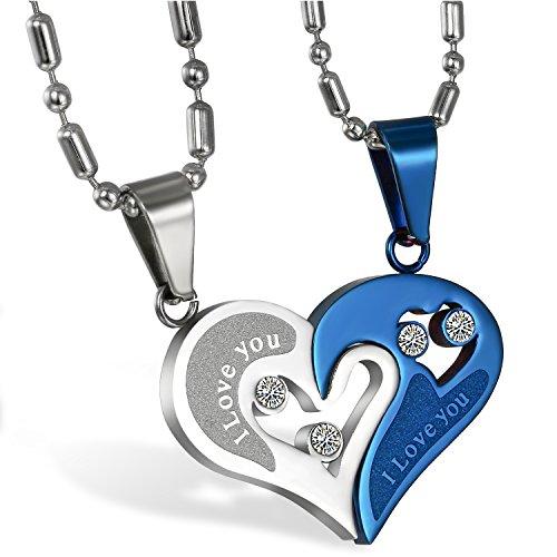 JewelryWe Schmuck 2PCS Paare Halskette Partnerketten Freundschaftsketten Partneranhänger Edelstahl I Love You Gravur Herz Puzzle Anhänger Kette Blau Silber