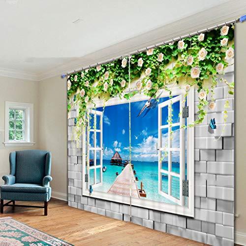 Vorhänge 3D 2 Panels Für Wohnzimmer Schlafzimmer Dekor Öse/Ring Top Window Panels - Gefälschte Fenster Am Meer -