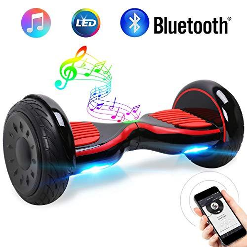 """Windgoo Hoverboard 10""""Scooter eléctrico con Auto Equilibrio, Hoverboard con Bluetooth y LED, por la borda con certificación UL 2272, Motor 2 * 350W"""