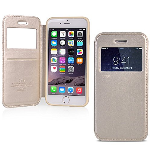 UKDANDANWEI iPhone 6 Plus / 6s Plus [Rr] Hülle Case - Magnetisch Leder Tasche Flip Case Cover Schutzhülle Etui Hülle Schale mit Fenster Ansicht Für iPhone 6 Plus / 6s Plus - Braun Gold