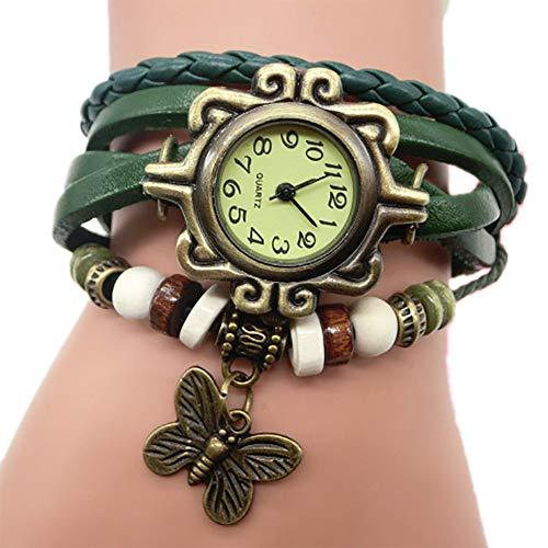 TianWlio Armbanduhren Damen Mode Retro Weave Wrap Dame Bead Butterfly Dangle Armband Armband Quarz Armbanduhr