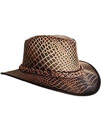 c61c69bd06be4 Bushwacker Cañonero Estampado de cocodrilo Sombrero de Piel con Trenzado  Banda