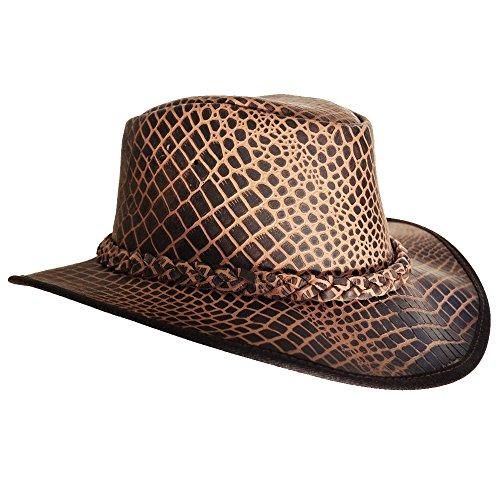 Aufdruck Leder Hut - mit geflochten Band - Cowboy Hut - Outdoor Hut Leder wasserdicht -Safari Hut - Lederhut - Safari/Outdoor/Südafrika/Outback - handgefertigt - Wachs ()