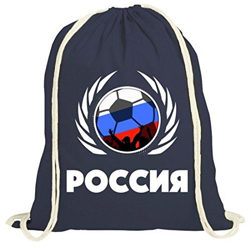 Russia Poccnr Soccer Fussball WM Fanfest Gruppen Fan natur Turnbeutel Gym Bag Fußball Russland dunkelblau natur
