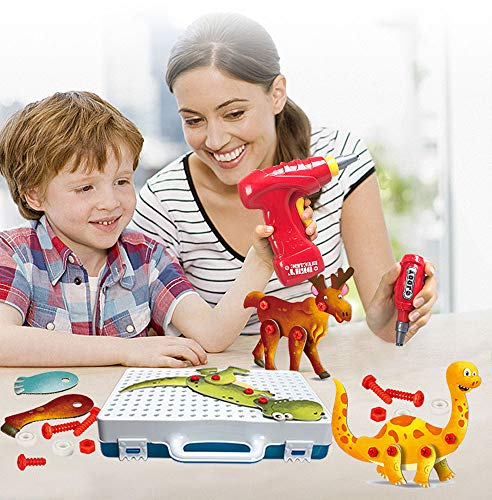 NACEO Educational Insights Design & Drill Activity Center, 8 Sätze Tier-3D-Puzzles, Feinmotorik Und STEM-Lernen Mit Toy Electric/Manual Drill