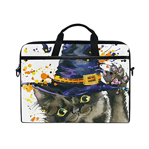 Classic Leinen Hut (Ahomy Halloween Katze Hexe Hut Multifunktionale Stoff Wasserdicht Laptop Tasche Aktentasche Schultertasche Messenger Bag)