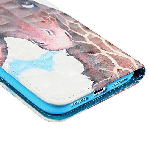 iPhone X Flipcase YOKIRIN Wallet Case für iPhone X Schutzhülle Handyhülle 3D Effekt Farbmalerei Flip Case Hardcase Ledertasche PU Leder Huelle Stand Halter Innere TPU Handytasche Schale Bookstyle Port Giraffe