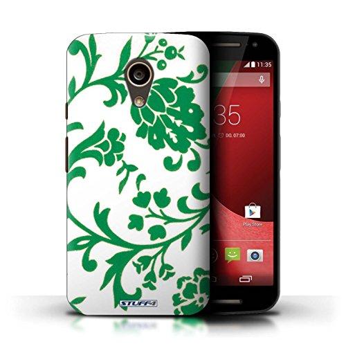 Kobalt® Imprimé Etui / Coque pour Motorola Moto G (2014) / Fleurs Pourpre conception / Série Motif floral Fleurs Verte