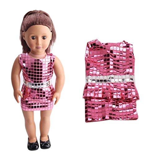 Puppen Kleidung , YUYOUG Süße Pailletten ziemlich Sommerkleid passt Outfit für 18-Zoll-American Girl Doll und anderen 16 Zoll 18 Zoll Puppen (Rosa)